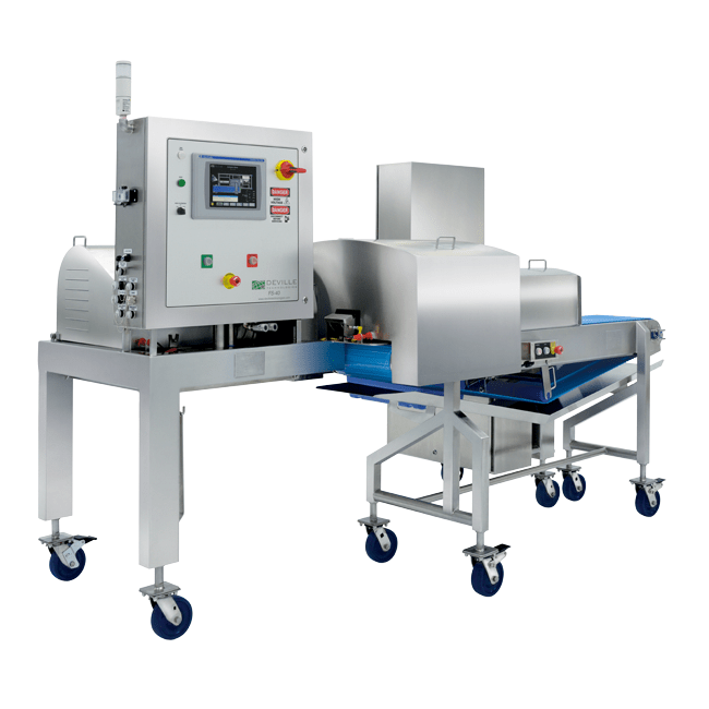 Angled shot of Ultra-Sanitary, complete stainless steel industrial cheese shredder with UMHW push plate, HMI interface touch screen and Allen-Bradley controls.